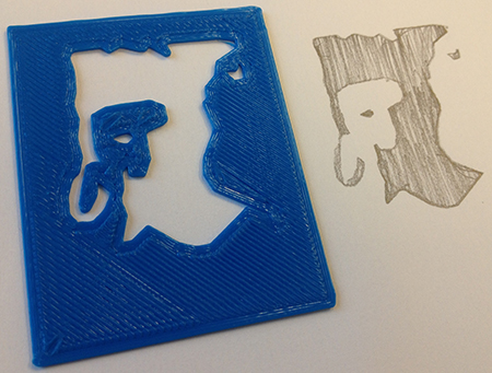 3d printed stencil and result