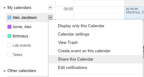 dropdown google calendar