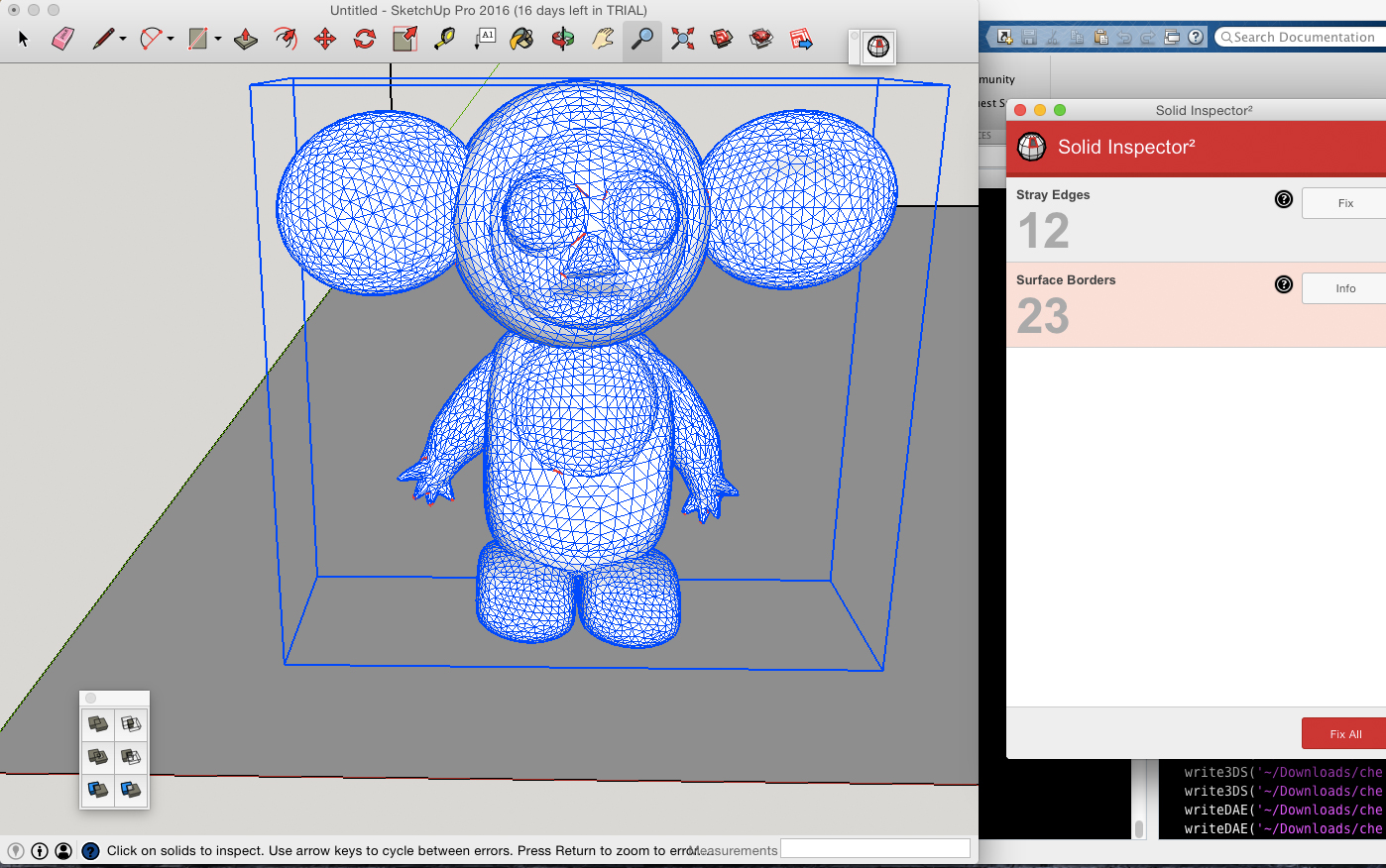 cheburashka imported into sketchup with missing faces